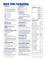 Microsoft Word 2003 Formatting (Intermediate) Quick Reference Guide (Cheat Sheet of Instructions, Tips & Shortcuts - Laminated)