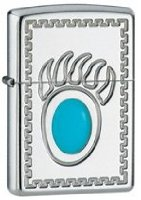 Zippo Collectors Range Lighter - Bear Claw Silver Plated