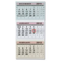 At-a-Glance 2011 Wall Calendar Tear-off Pages Three Monthly with Date Indicator W300xH580mm Ref TML