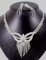 Diamante necklace and earrings set butterfly design