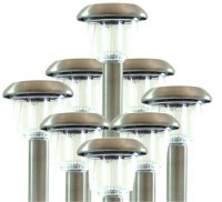 Stainless steel solar powered garden lights 8 pack