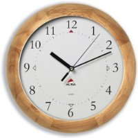Alba Woodtime Wall Clock Quartz with Plastic Lens and Wooden Case Diameter 310mm Ref HORWOODY