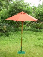 1.8M DELUXE HARDWOOD GARDEN FURNITURE PARASOL WITH RATCHET TERRACOTTA