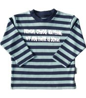 Striped long sleeve tee 1-2 yrs mint/navy 'Terror,chaos,mayhem my job here is done' top