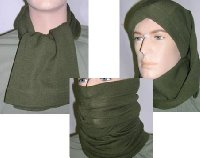 CZECH ARMY ISSUE HEADOVER SCARF,MULTIPURPOSE HEADWEAR..ARMY GREEN