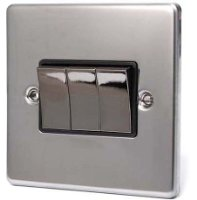 BLACK NICKEL 3 GANG 2 WAY 6 AMP LIGHT SWITCH C306BNB