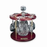 Round Crystal Decanter and Six Wine Glasses
