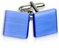 Unique Blue Catseye Glass Square Cufflinks with Presentation Box