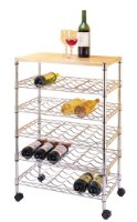 Kimco Mobile 30-Bottle Wine Trolley (KD) with Solid Wood Table Top, Wood/Chrome