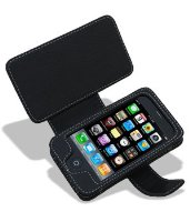 Noir Luxe Black Leather Premium Book Case for Apple iPhone 3G / 3GS Version
