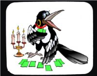 Decorated Mouse Pad with the image of: tarot, cards, crow, teller, fortune, madame, candles