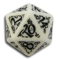 Q-Workshop: Carved Elvish / Elven d20 Dice / Die (White & Black)