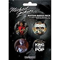 Posters: Michael Jackson Badge Pack - King Of Pop, 4 X 38mm Badges (6 x 4 inc...