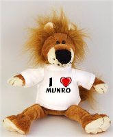 Lion plush toy (Fetzy) with I Love Munro t-shirt