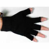 Mens Thinsulate 3M Thermal Fingerless Gloves Black M/L