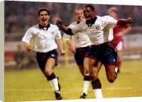 Canvas Prints of Ian Wright Football scores his first goal for England and from Mirror Photos