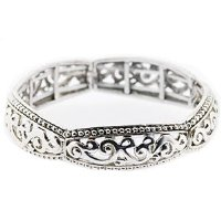 Silver Chunky Filigree Expanding Bangle. Beautifully presented in a Kooqi gift box and red organza bag.