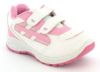 Girls White Velcro Fastening Cheap Trainers - White/Pink - UK 8-2