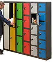 Trexus Plus 4 Door Locker Nest of 1 ACTIVECOAT W305xD305xH1780mm Black Yellow Ref 864435