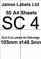 Laser Labels 50 A4 Sheets (White) SC4 Butt Cut No Selvedge 4 Labels Per Sheet 105mm x 148.5mm Guaranteed Not To Jam