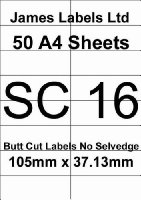 Laser Labels 50 A4 Sheets (White) SC16 Butt Cut No Selvedge 16 Labels Per Sheet 105mm x 37.13mm Guaranteed Not To Jam