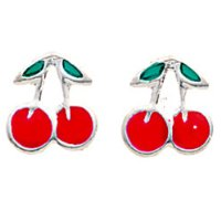 Treasure Box - Silver and Red Cherry Earrings