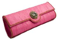 Pink raw silk rigid style clutch bag with large diamonte motif and beading