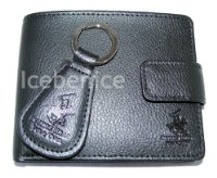 Mens Leather Wallet & Key Fob Gift Set , Black Leather, Beverly Hills Polo Club, gift boxed