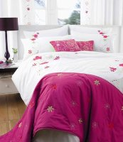 Pink / Fuchsia Duvet Cover - Double - Luxury Embroidered - Lulu