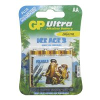 GP AA Ultra Alkaline Battery. Blister of 4 Plus Free Ice Age 3 Fridge Magnet