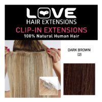 Love Hair Extensions 100% Human Hair Clip in Extensions Colour 2 Dark Brown