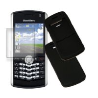 XYLO Accessory Bundle: Screen Protector (with MicroFibre Cleaning Cloth) & Black XYLO SuperTuff Silicone Skin Case Cover Pouch for the BlackBerry PEARL 8100 / 8110 / 8120 PDA Smart Mobile Phone!