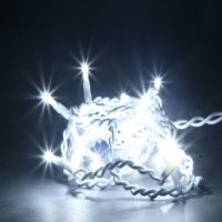 5m Indoor LED String Lights Ice White with White Cable