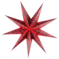9 Point Paper Star Light Shade, Red with Black Pattern