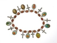 Stretch Wooden Bracelet with Saints Medals and Cross