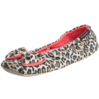 Isotoner Women's Animal Print Velour Big Bow Ballerina Slipper