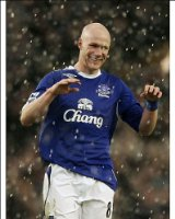 Photographic Prints of Evertons goalscorer Johnson celebrates following an English Premier League from Everton ePhoto