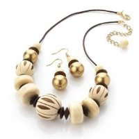 New Ladies Wood Tone Bead Cord Necklace And Earring Set