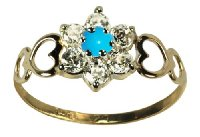 9ct Yellow Gold Created Turquoise & Cz December Birthstone Ring - Size  O
