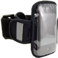 "Navitech Black / Silver Neoprene Water Resistant Sports Gym, Jogging / Running Armband Case with ""Light Reflection Strip"" for the Apple iPod Touch 1st, 2nd, 3rd & 4th (released 2010) Gen / Generations inc 8 GB, 16 GB, 32GB, 64GB models"