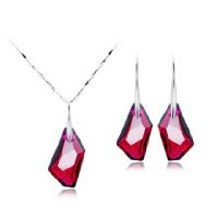 Swarovski Red Crystal Pendant & Earrings Silver Set