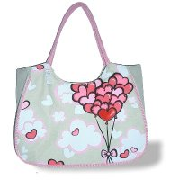 LARGE BEACH BAG Hearts, Balloons bunch (H)33cm x (W)52cm x (D)21cm **FREE UK DELIVERY**