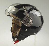 RS-16 Black Open Face Motorcycle Helmet Size Medium