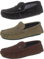 Mens Moccasin Slippers by Dunlop Suede Leather available in Black, Taupe or Brown