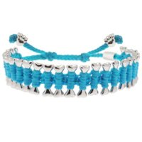 Heart U Back Turquoise And Silver Dog Bone Friendship Bracelet