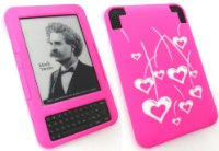 EMARTBUY AMAZON KINDLE 3 3G + Wi-Fi SILICON CASE/COVER/SKIN HEARTS HOT PINK