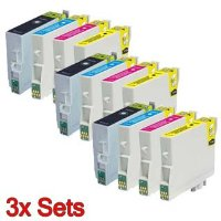 3x Set of Epson T0321->T0424 Compatible Printer Ink Cartridge Bk/C/M/Y for Epson Stylus C82 / C82N / C82WN / CX5100 / CX5200 / CX5300 / CX5400. Chipped and ready to use! (Contains: 3x T0321, T0422, T0423, T0424)