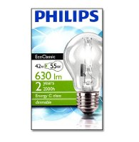 Philips EcoClassic30 42w E27 240V A55 CL 1CT/6 Halogen Bulb