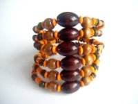 "ETHNIC INSPIRED: BROWN ORANGE 7.6"" CHUNKY WIDE BRACELET"