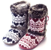 ladies fur trim knited boot slippers